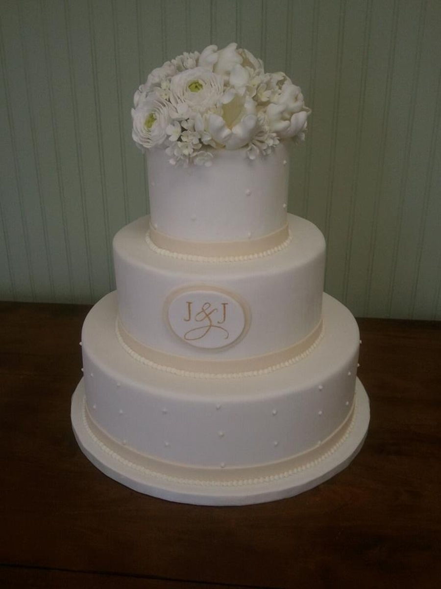 Sugar Floral Topper And Hand Painted Monogram on Cake Central