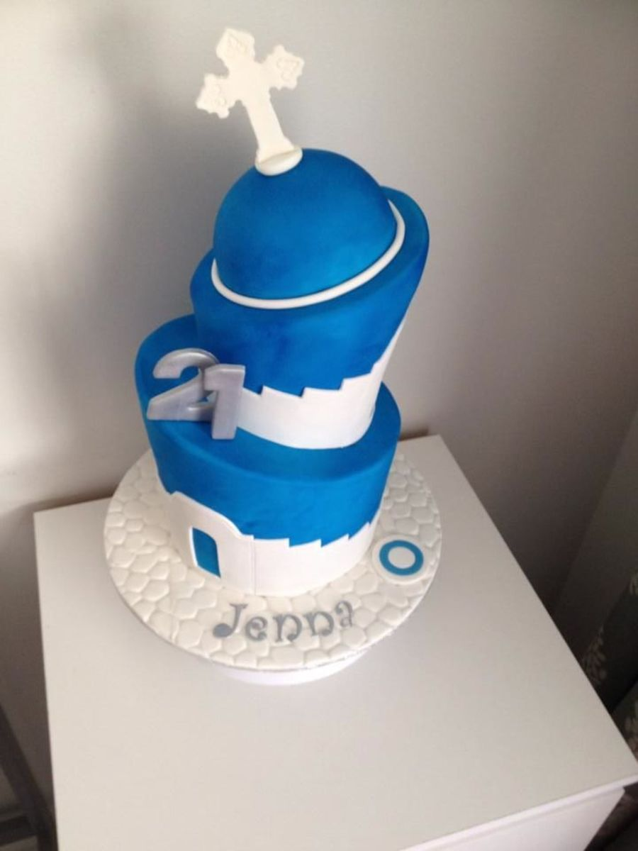 Topsy Turvy Greek Island Theme Cake on Cake Central