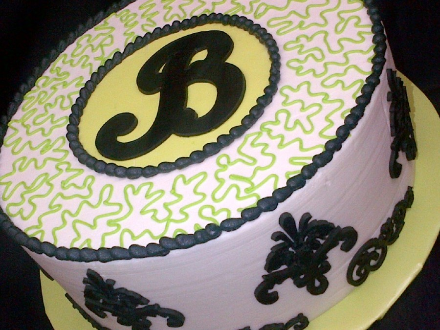 Damask / Lime Green on Cake Central