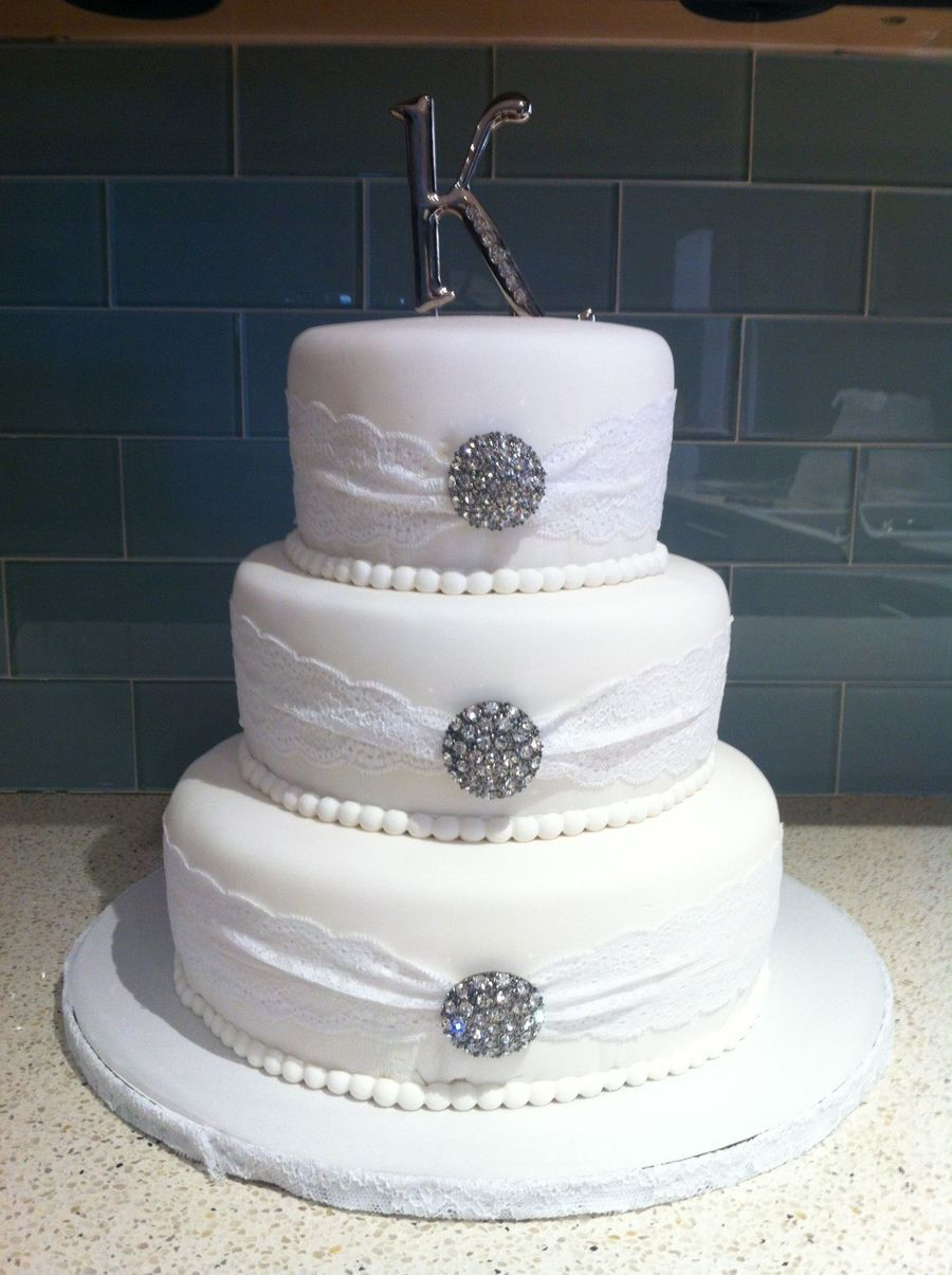 Lace And Rhinestone Wedding Cake on Cake Central