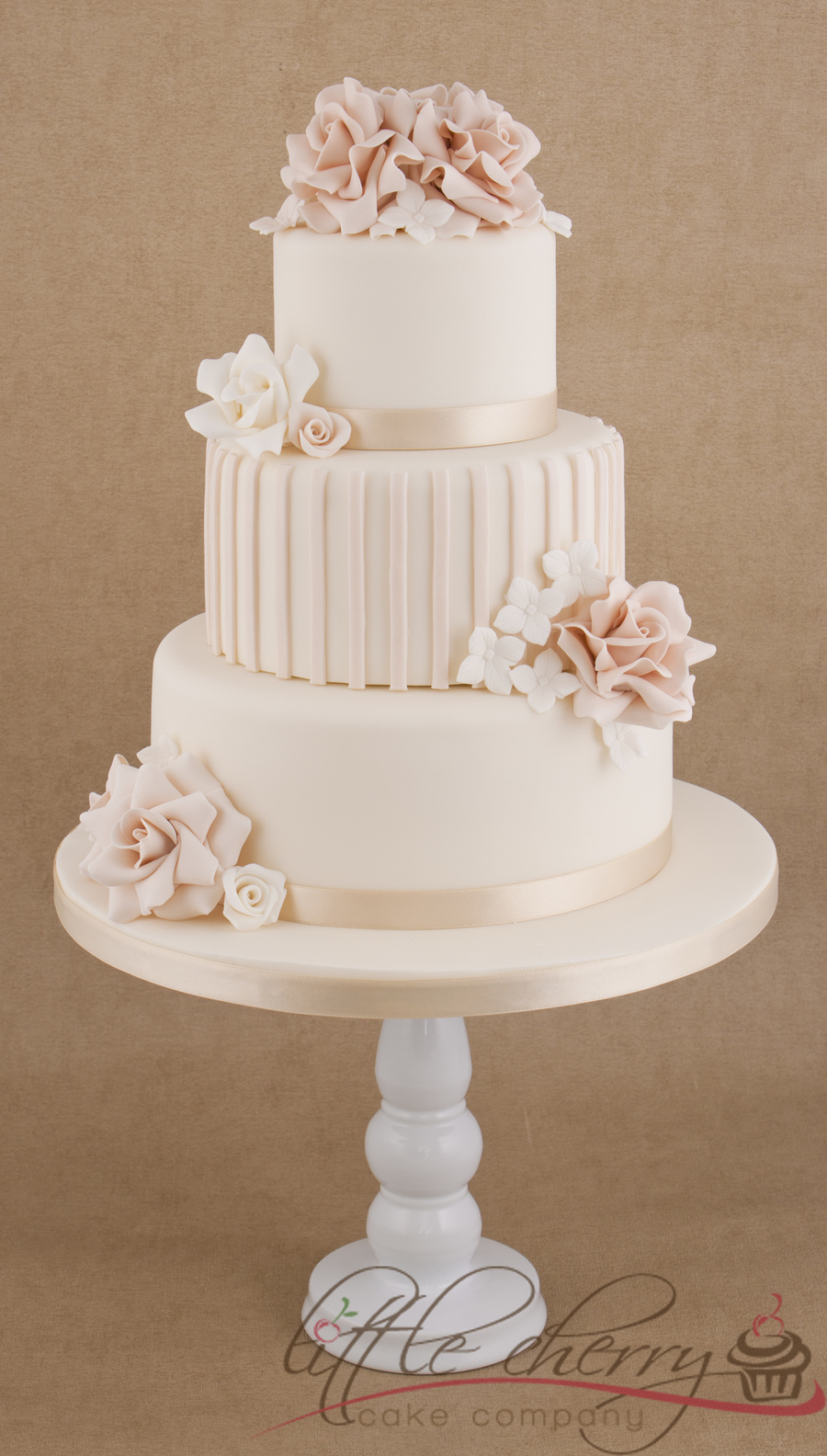 Roses And Stripes 3 Tier Wedding Cake CakeCentralcom - 3 Tier Wedding Cakes