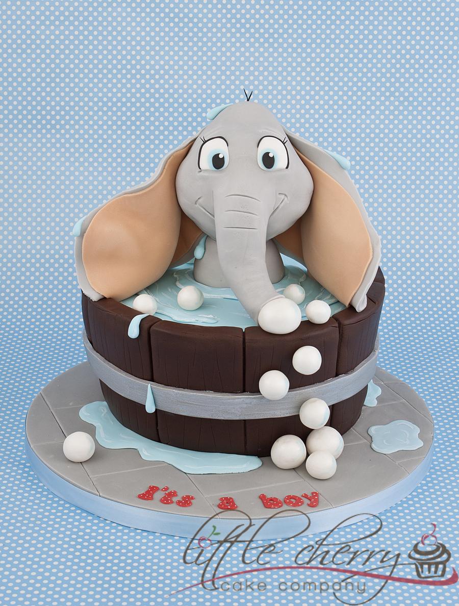 Images Of Elephant Cake : Elephant Bath Baby Shower Cake - CakeCentral.com