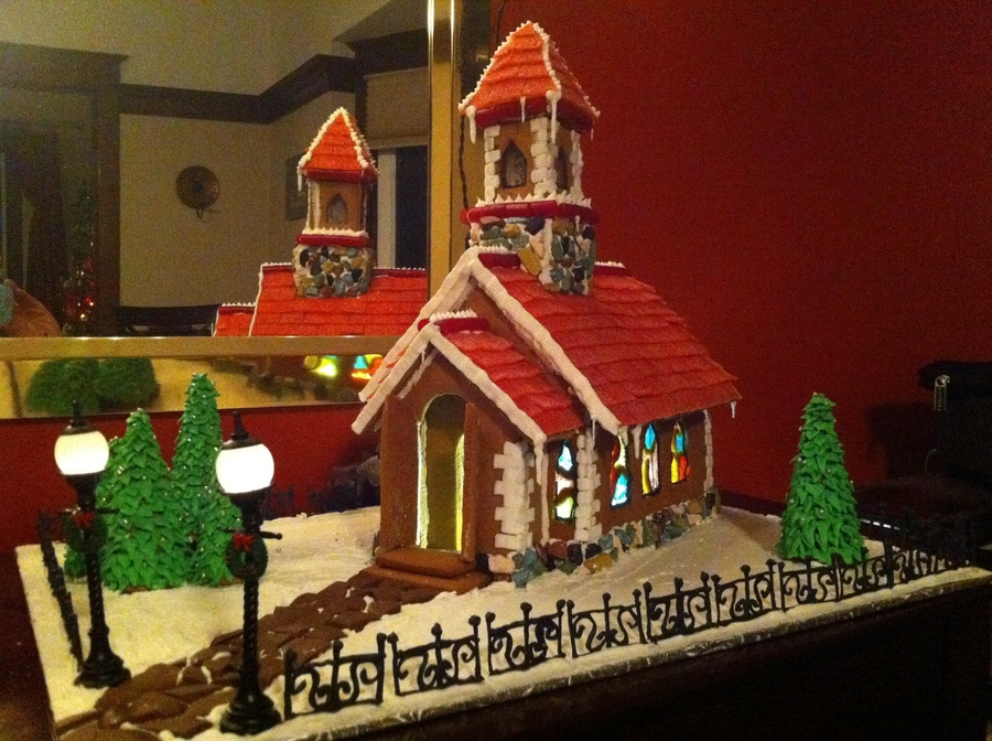 Last Years 2011 Gingerbread Church Everything Edible Except The Front Two Lamp Posts on Cake Central