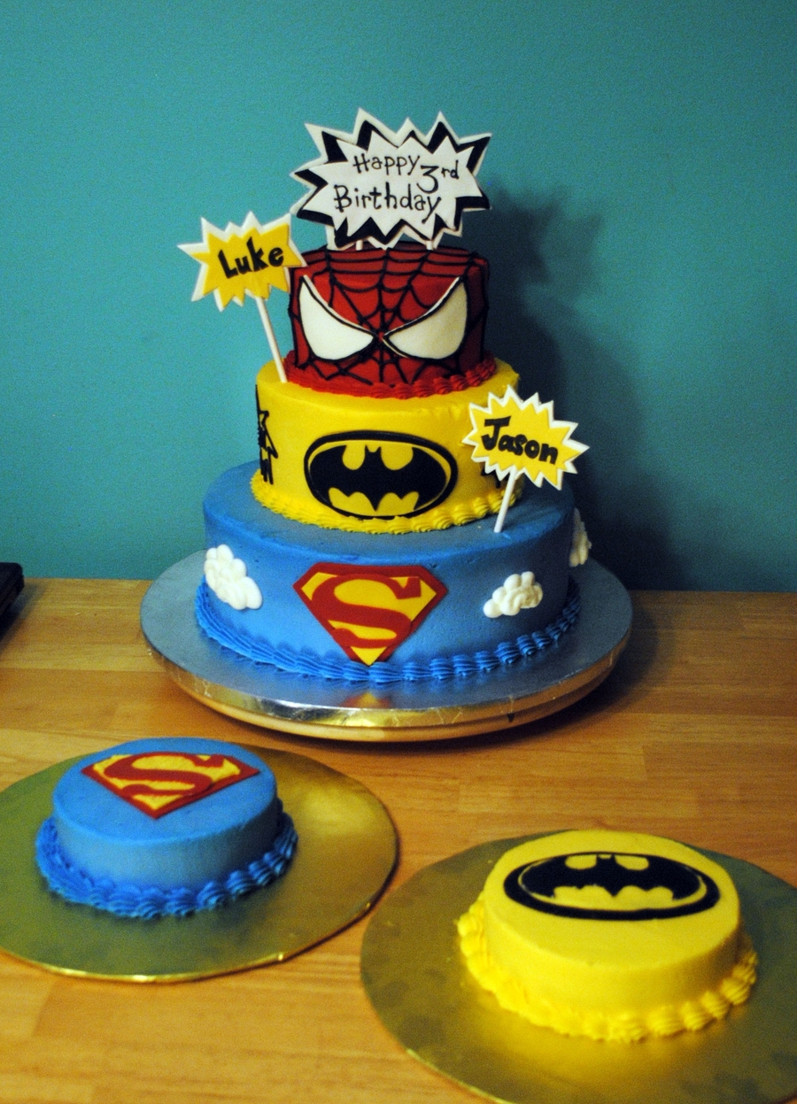 Spiderman Batman Birthday Cakes