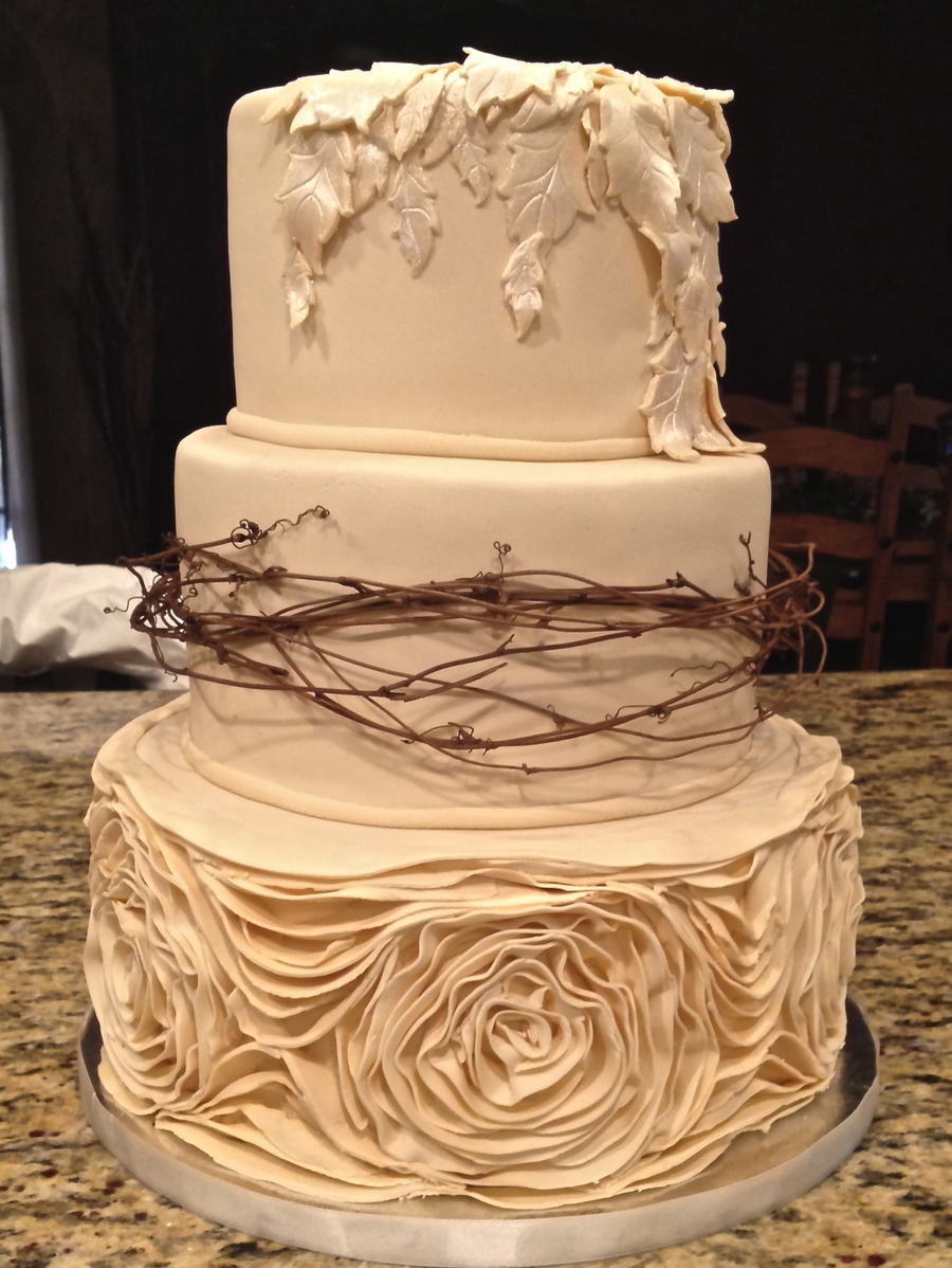 Ivory Rustic Wedding Cake on Cake Central