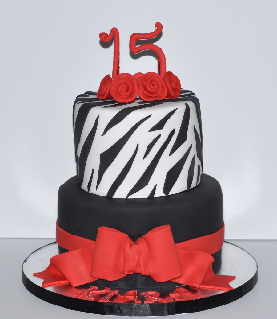 Red Black Amp White Zebra Birthday Cake on Cake Central