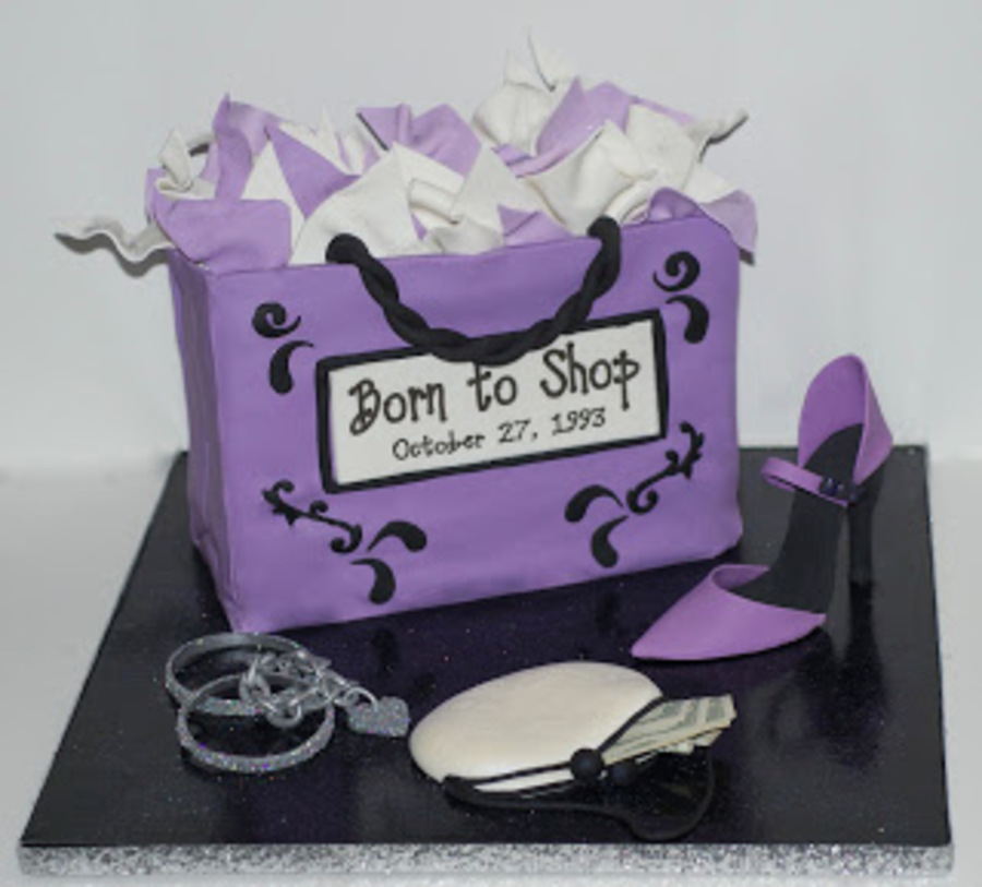 Sensational Shopping Bag Birthday Cake With Gumpaste Shoe Jewelry And Wallet Funny Birthday Cards Online Elaedamsfinfo