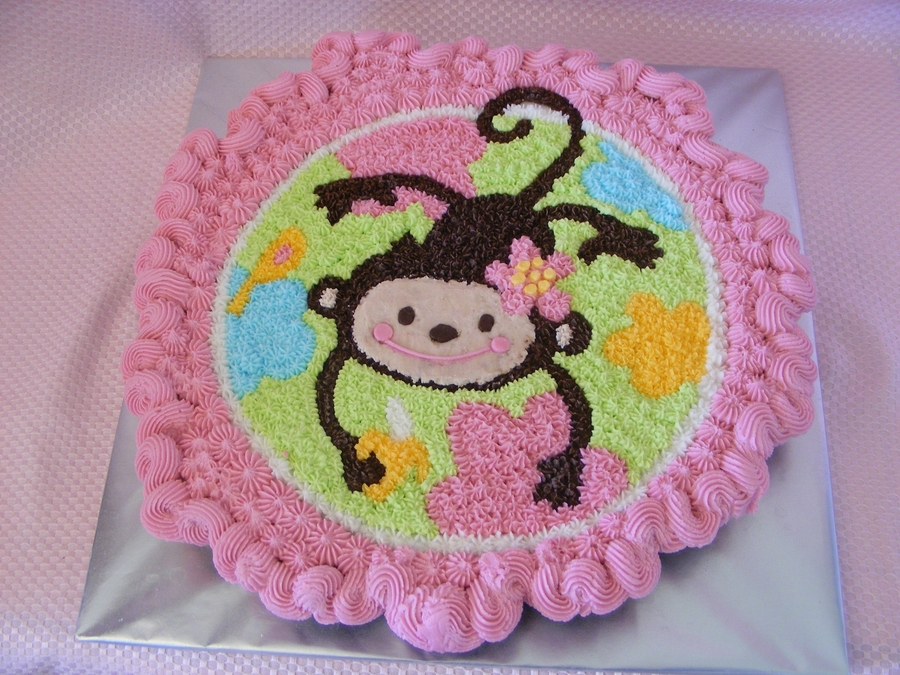 Girl Monkey Cupcake Cake on Cake Central