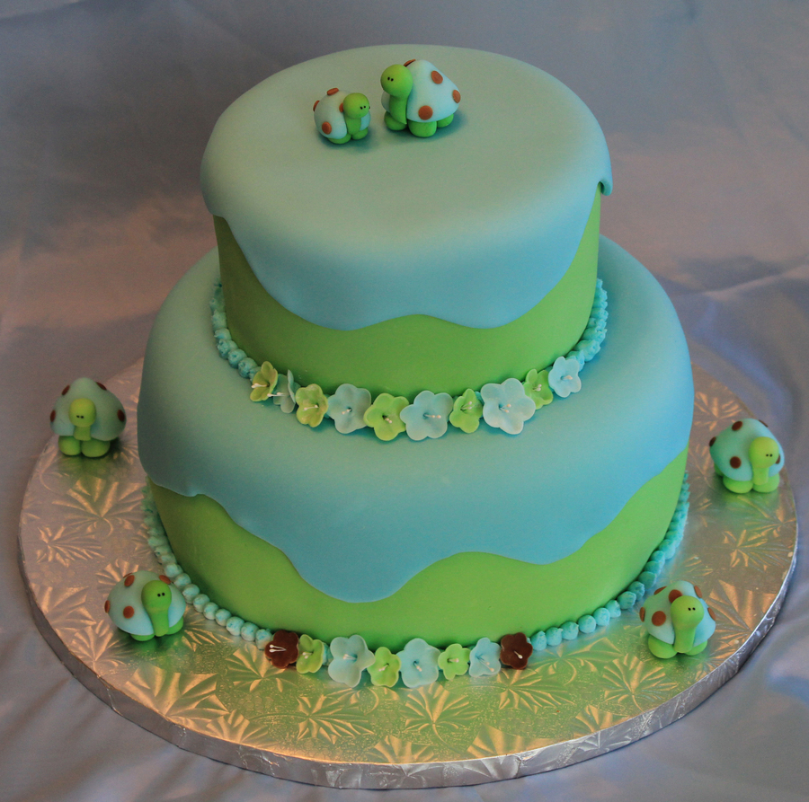 Green And Blue Babys Shower Cake on Cake Central