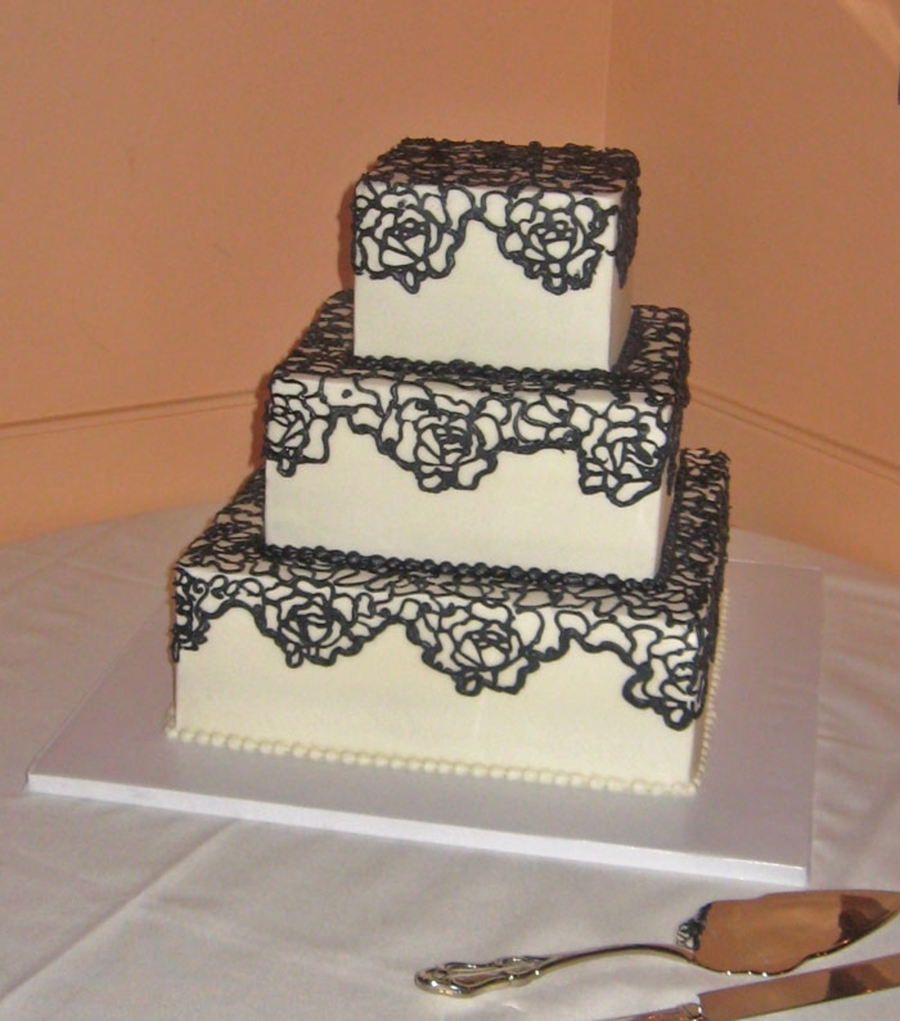 Square Wedding Cake With Rose Pattern  on Cake Central