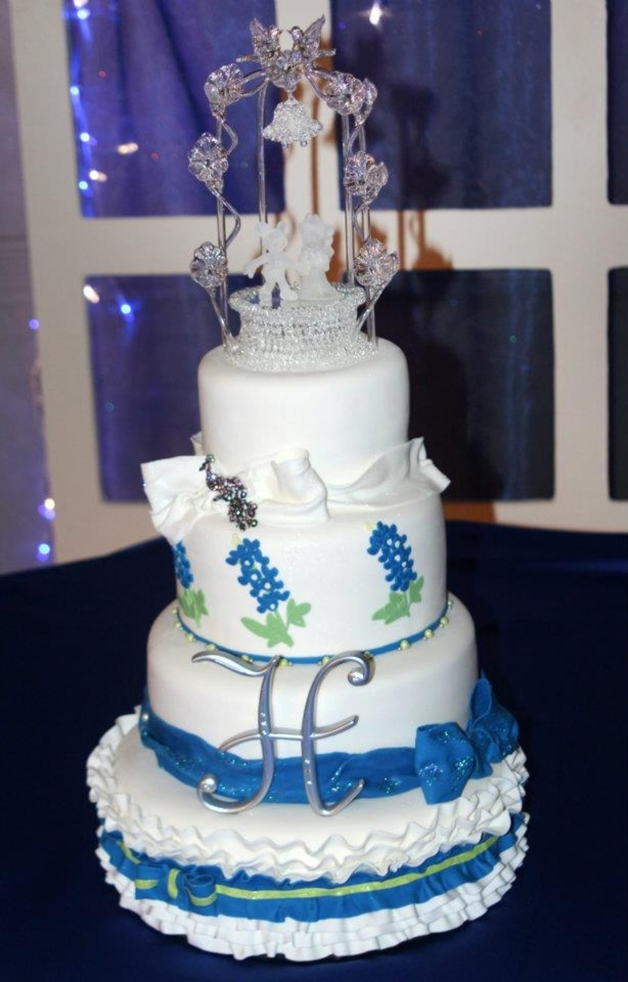 Wedding Cake With Bluebonnets