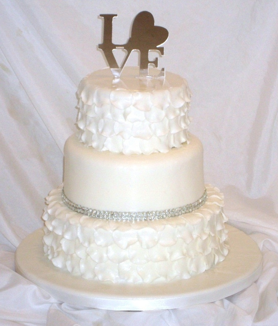 White Ruffle Love Wedding Cake on Cake Central