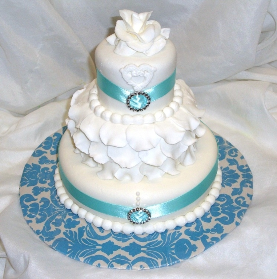 3 Tiered Aqua Mini Cake on Cake Central
