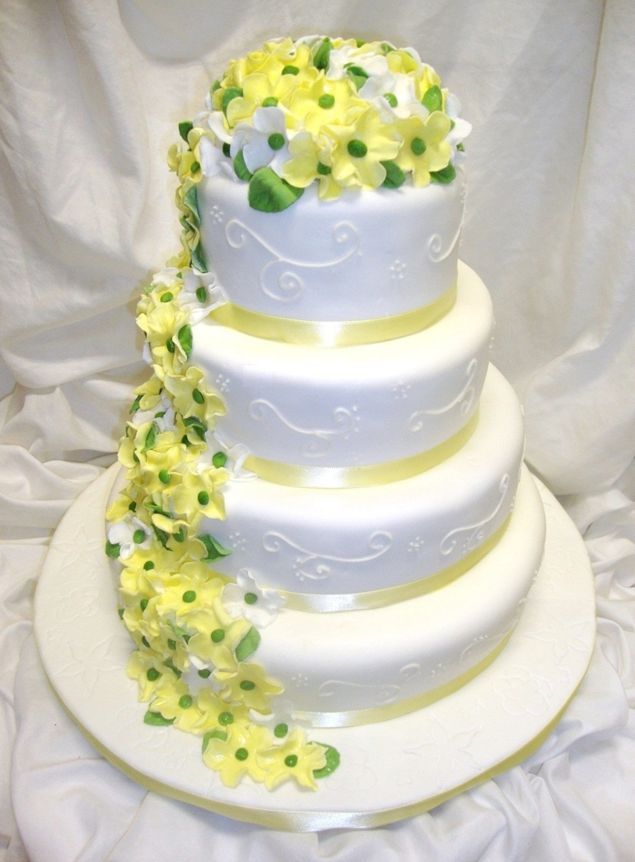 Yellow Blossom Wedding Cake on Cake Central