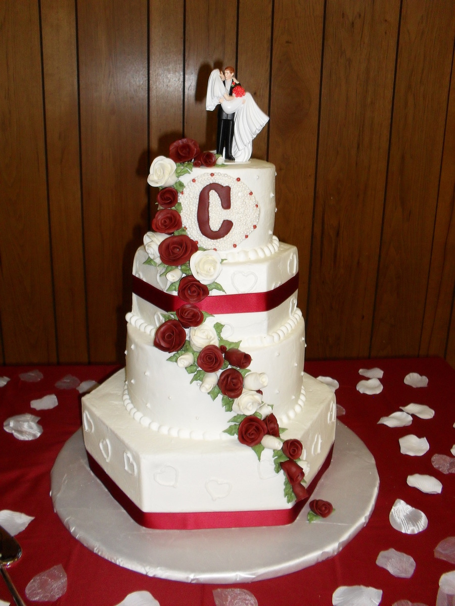 Burgundy And White Wedding Cake - CakeCentral.com