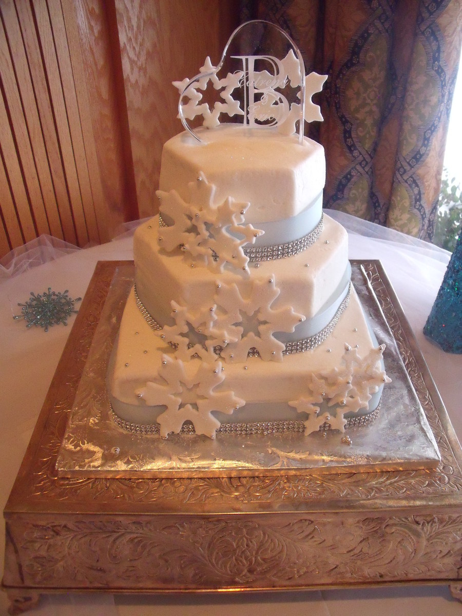 This Was Done In Buttercream With Fondant Snowflakes And Real Ribbon And Rhinestones on Cake Central