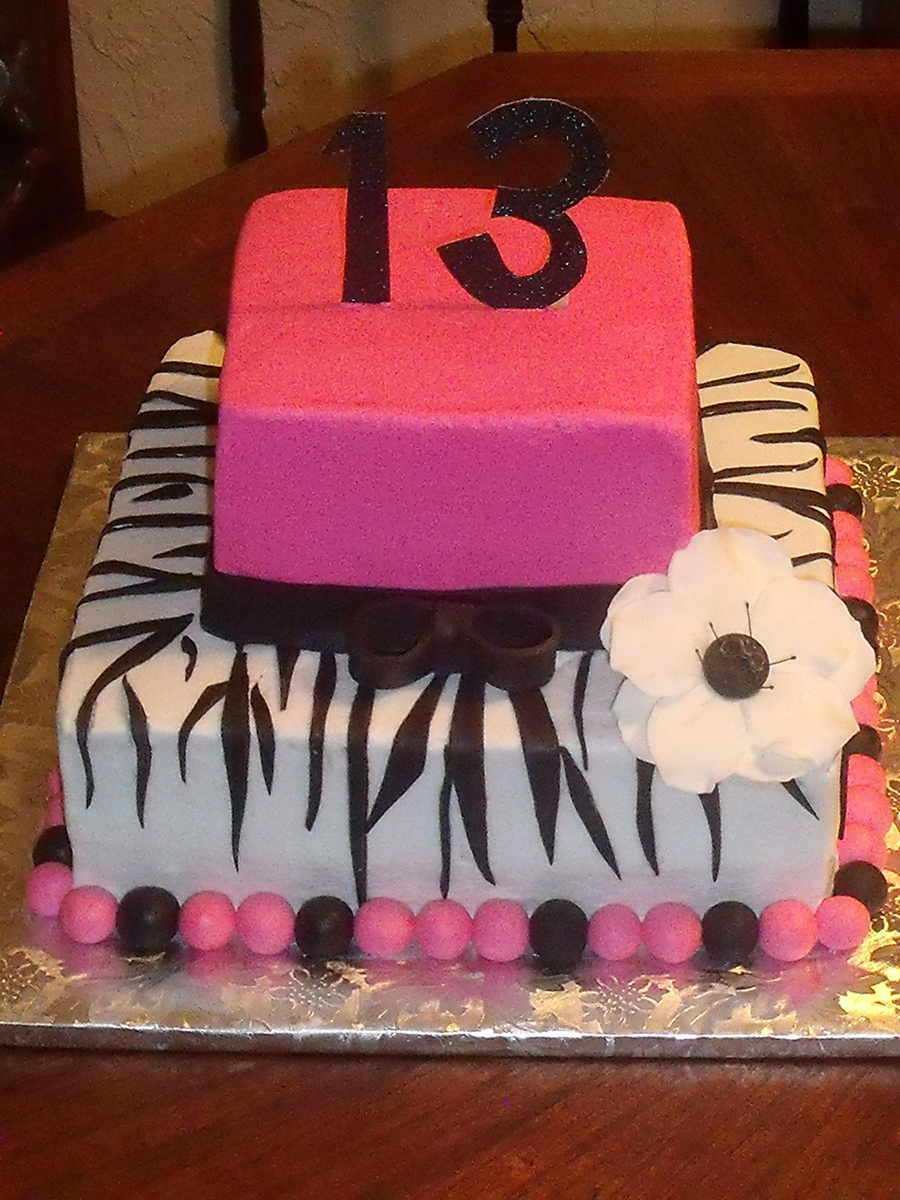 Pink Zebra 13Th Birthday on Cake Central