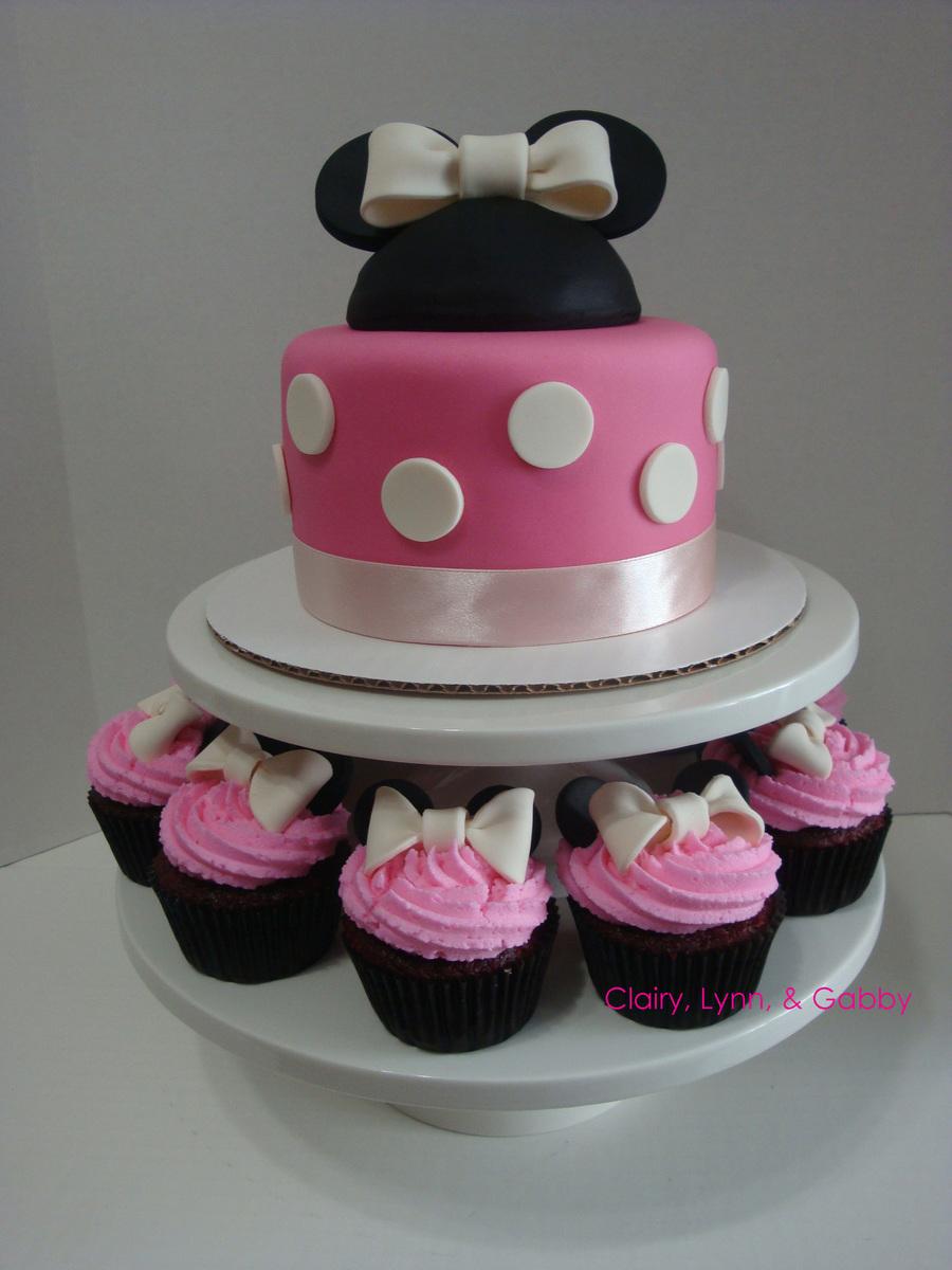 Minnie Mouse Cake Cupcakes Set