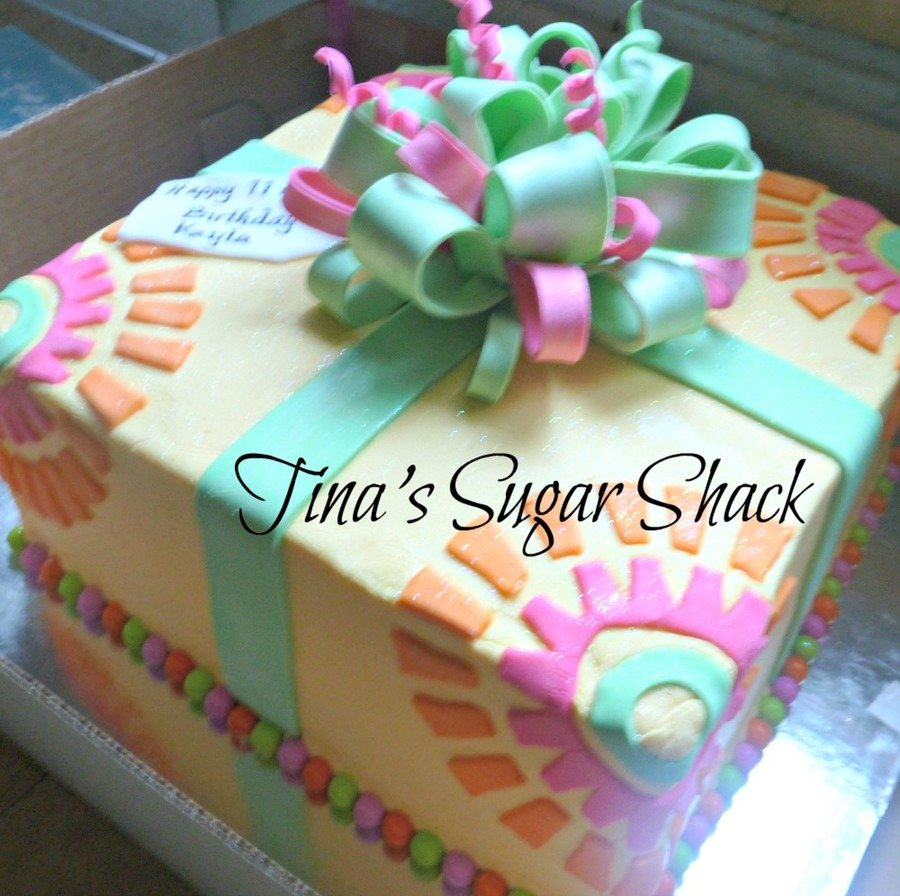 10 Square Cake Iced In Buttercream With A Fondant Bowribbon And Tag on Cake Central