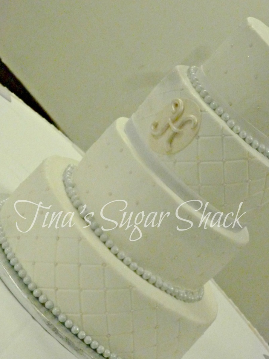 691012 Cakes Iced In Buttercream With Fondant H And Sixlet Pearl Border on Cake Central
