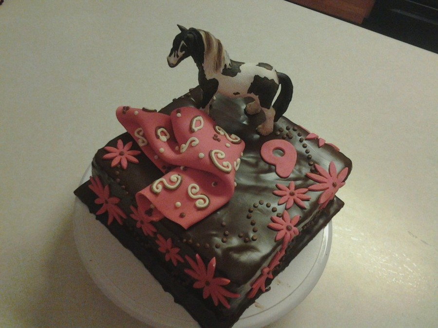 Super Birthday Cake For 9 Year Old Girl The Horse Is A Purchased Toy Not Funny Birthday Cards Online Alyptdamsfinfo