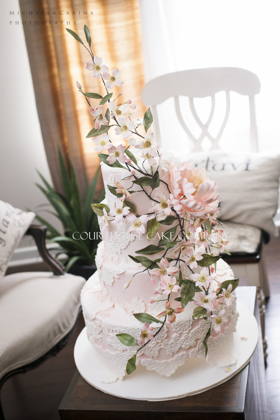 Lace Cake With Peonie And Dogwood Branches on Cake Central