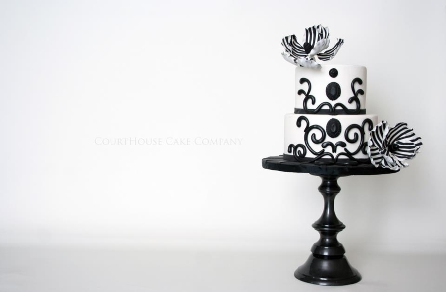 Black And White Fantasy Flowers on Cake Central