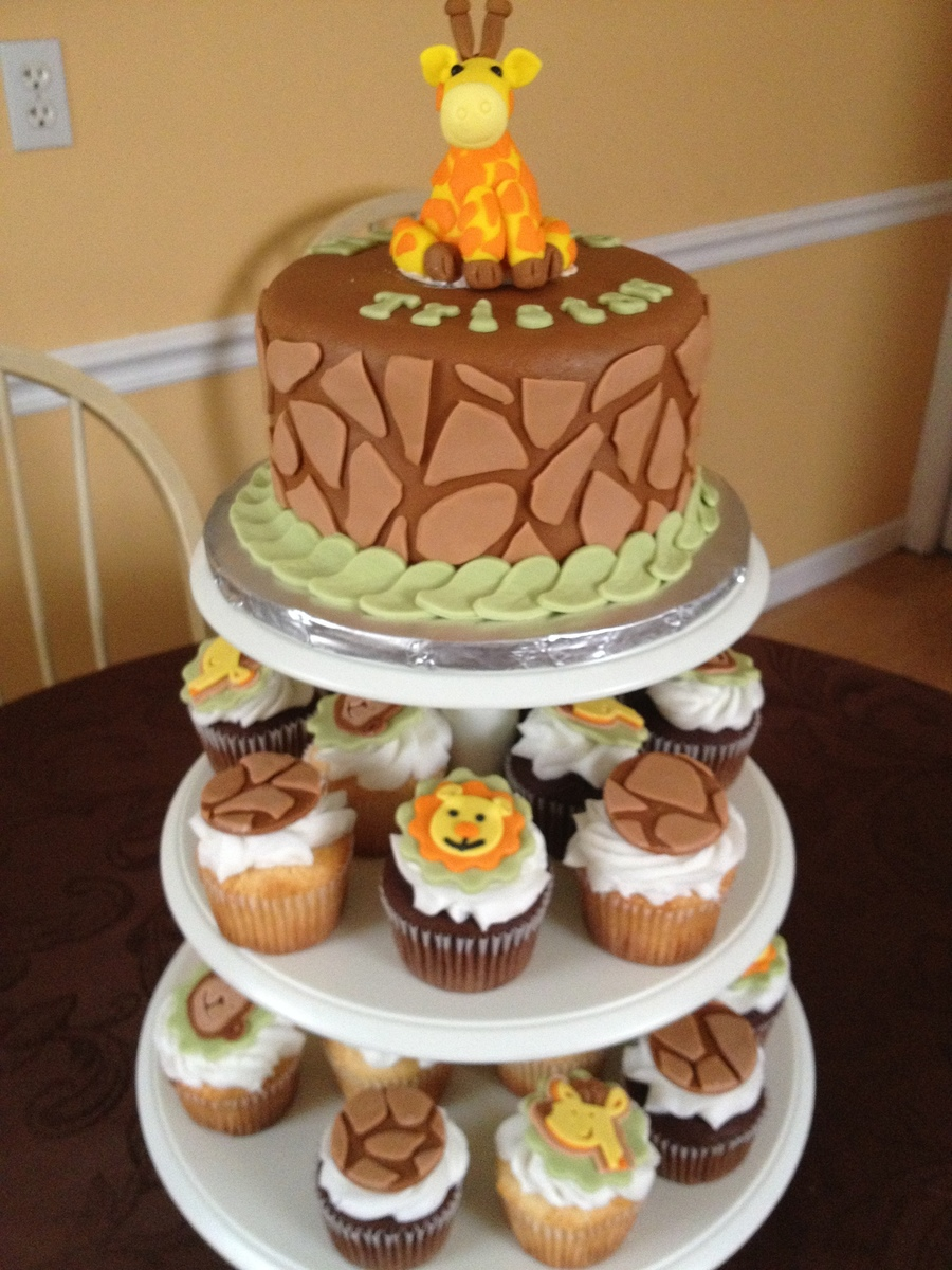 Jungle Baby Shower Cake And Cupcakes on Cake Central