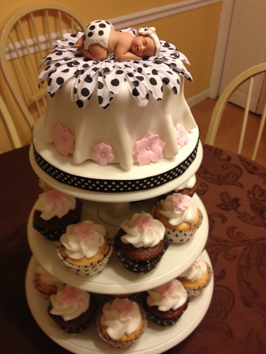 Black, White And Pink Baby Shower Cake on Cake Central