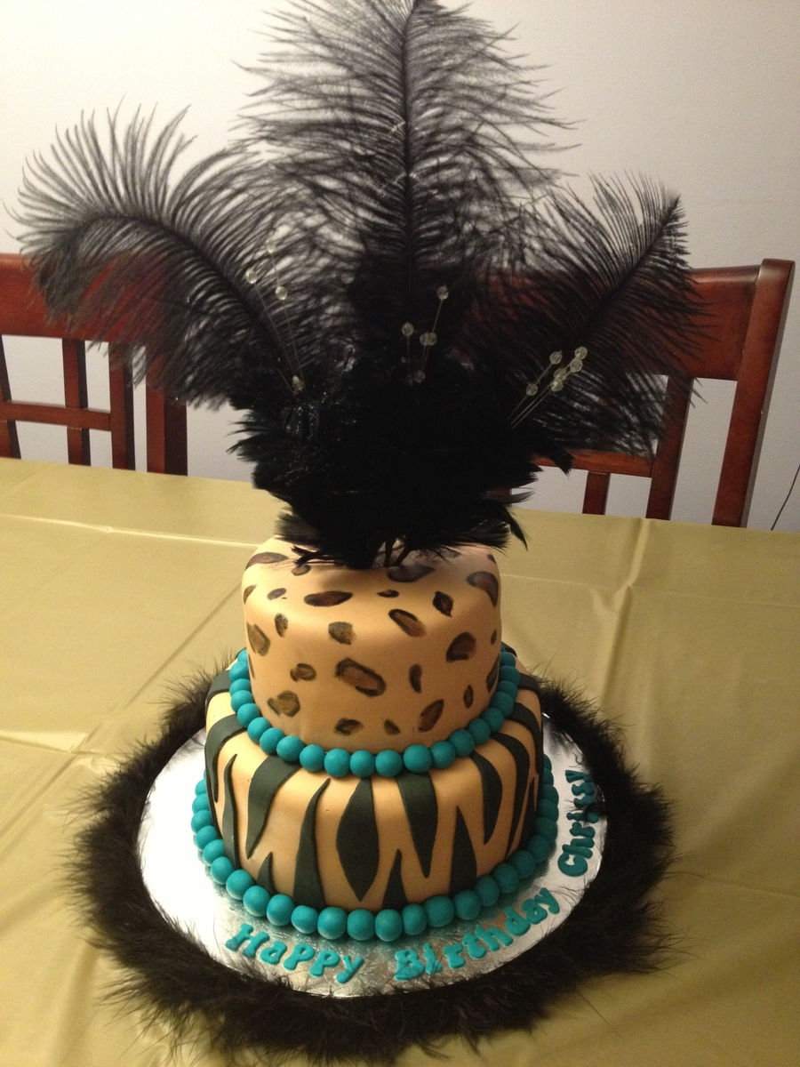 Animal Print Cake With Feathers on Cake Central