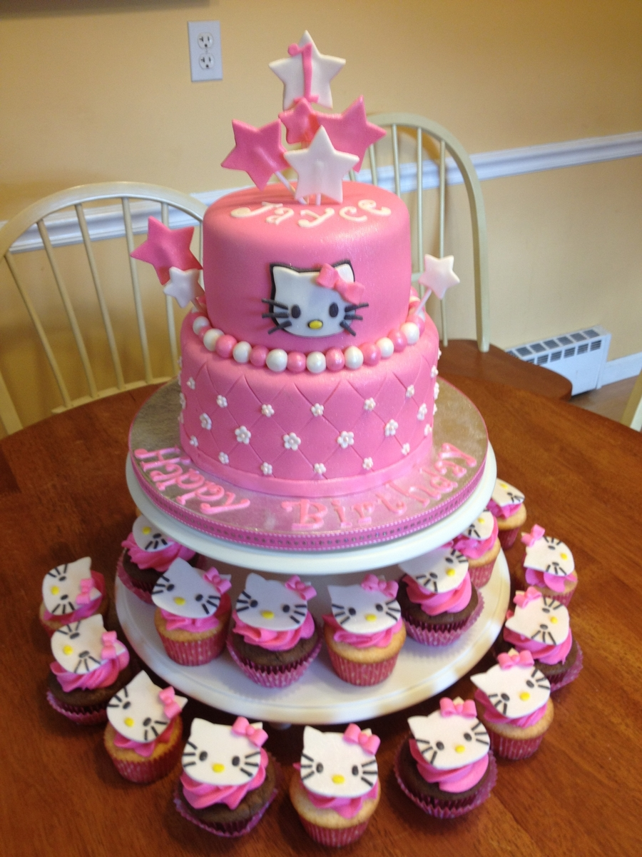 Hello Kitty Cake And Cupcakes CakeCentralcom