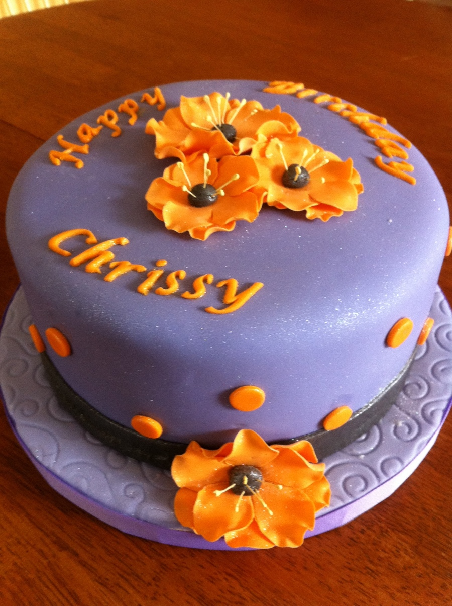 Purple, Black And Orange Birthday Cake  on Cake Central