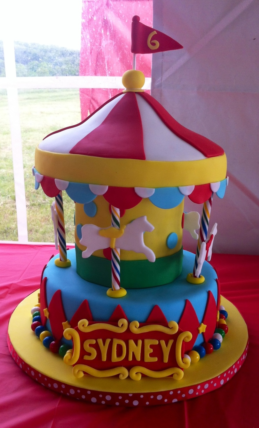 Wondrous Merry Go Round Cake For A Carnival Themed Birthday Party Personalised Birthday Cards Paralily Jamesorg