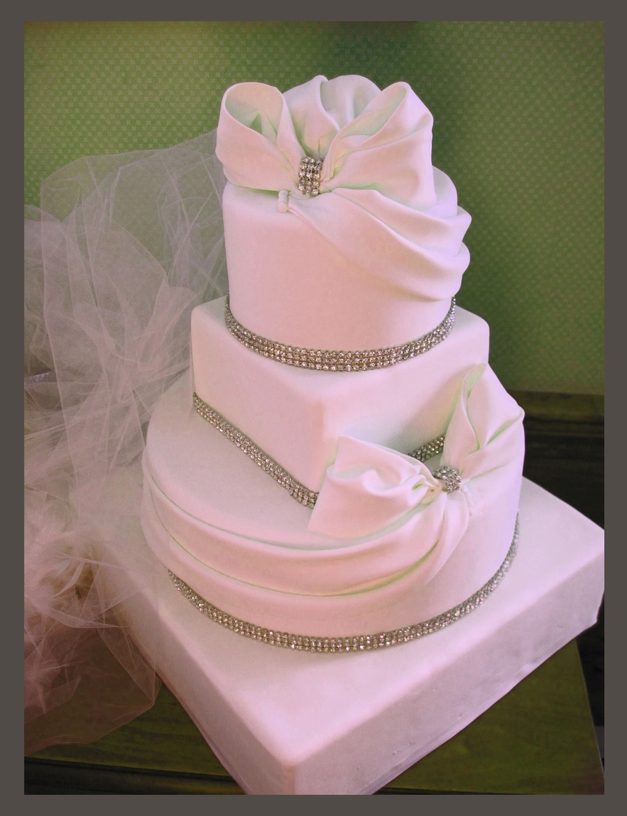 Bows And Bling Wedding Cake on Cake Central