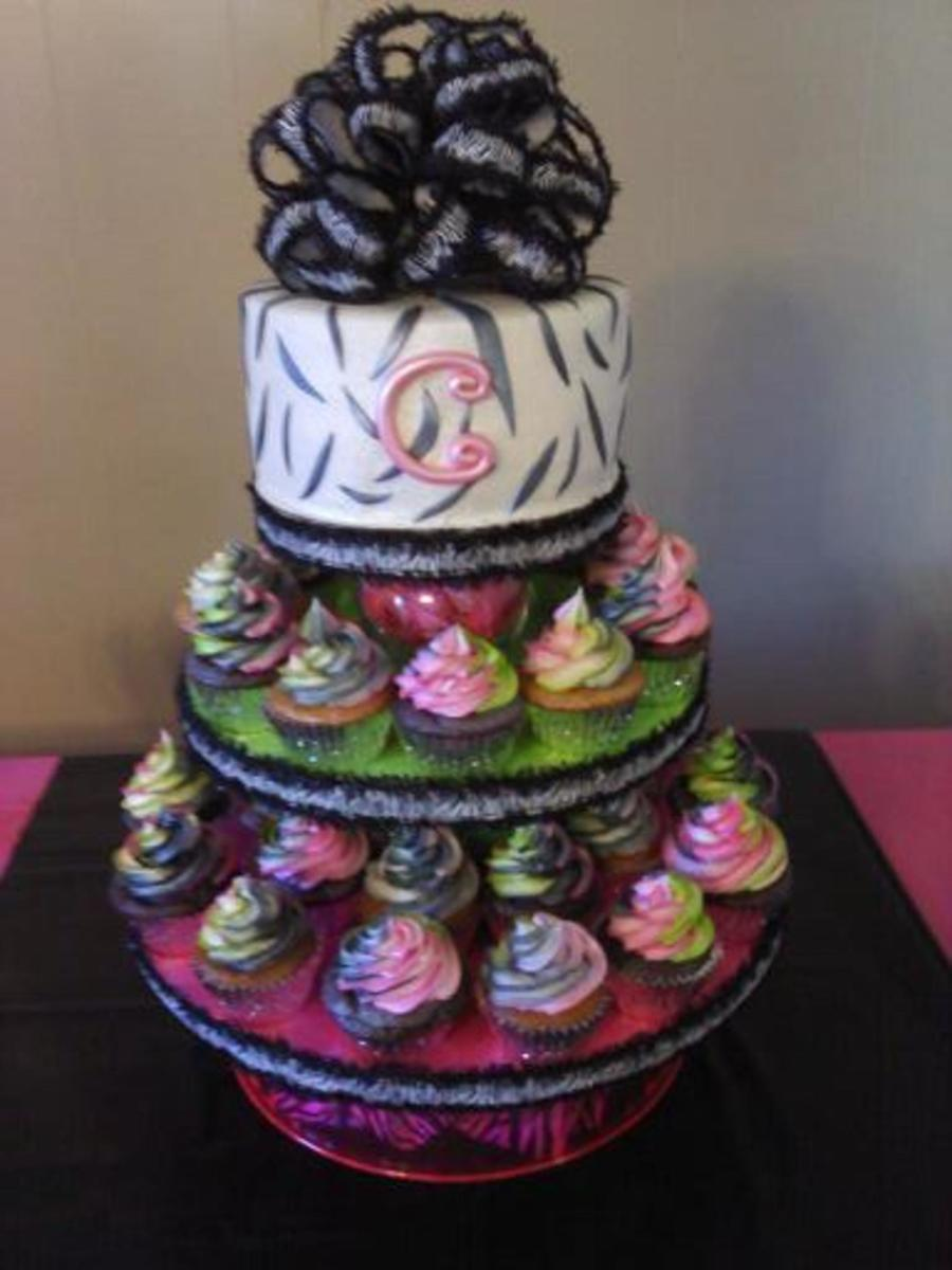 Zebra Print Cake And Multi Colored Cupcakes On Central