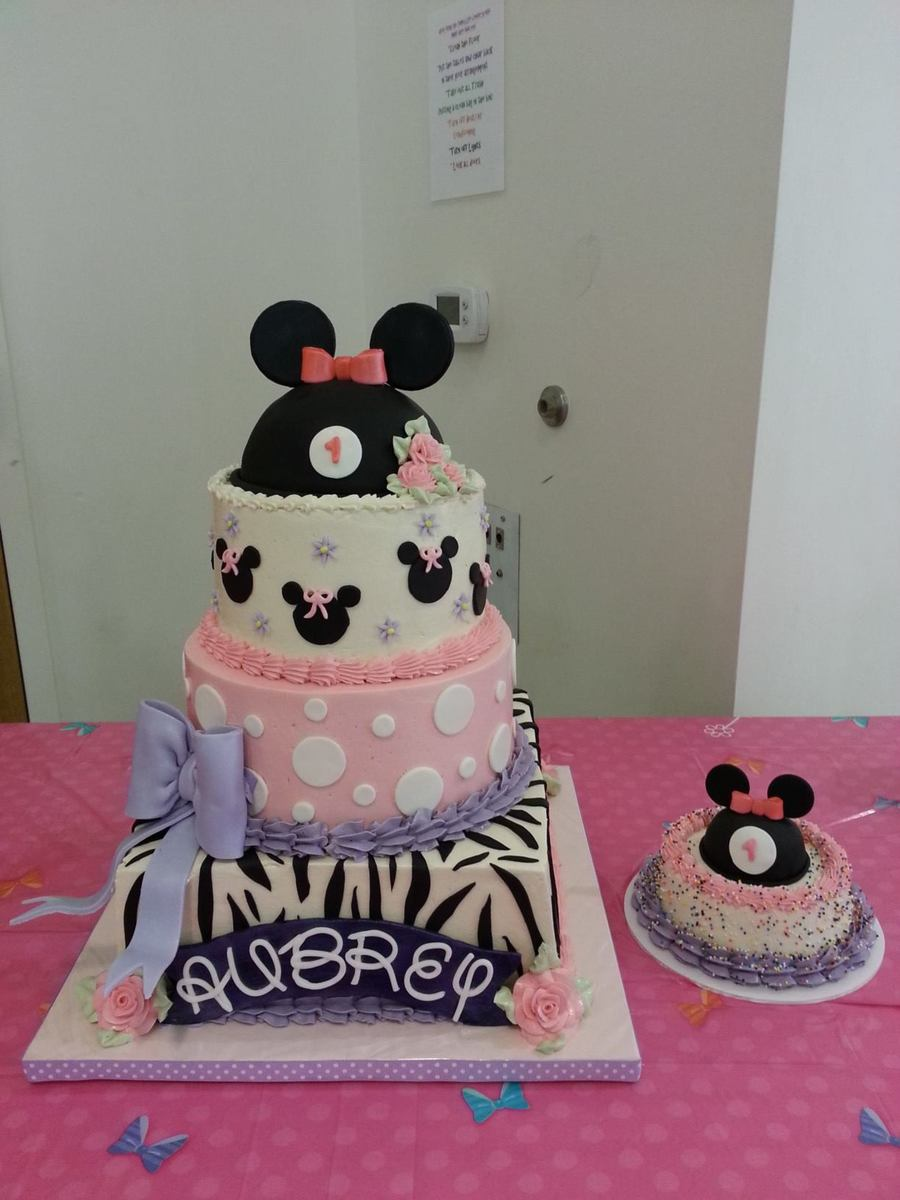 Minnie Mouse First Birthday Cake White Cake With Swiss Meringue Buttercream And Fresh Strawberries And Glaze Between Each Tier 12 Squa on Cake Central