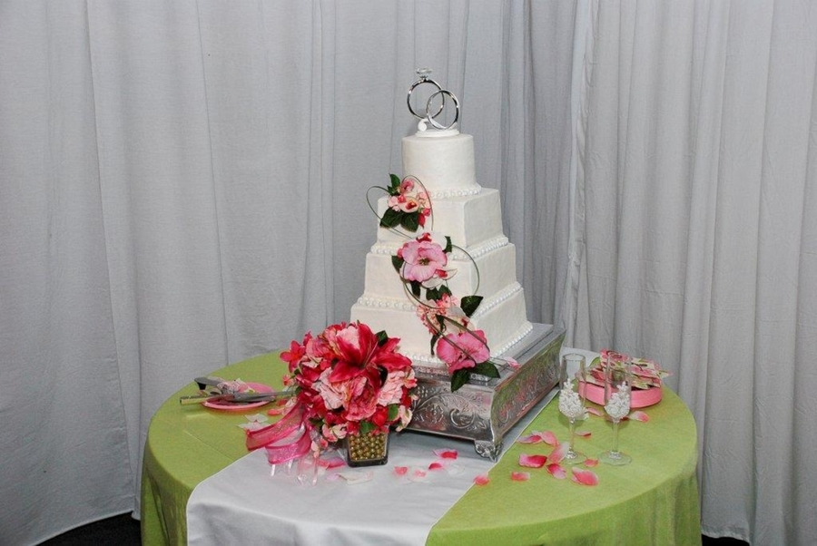 4 Tiered Pink And Lime Green on Cake Central