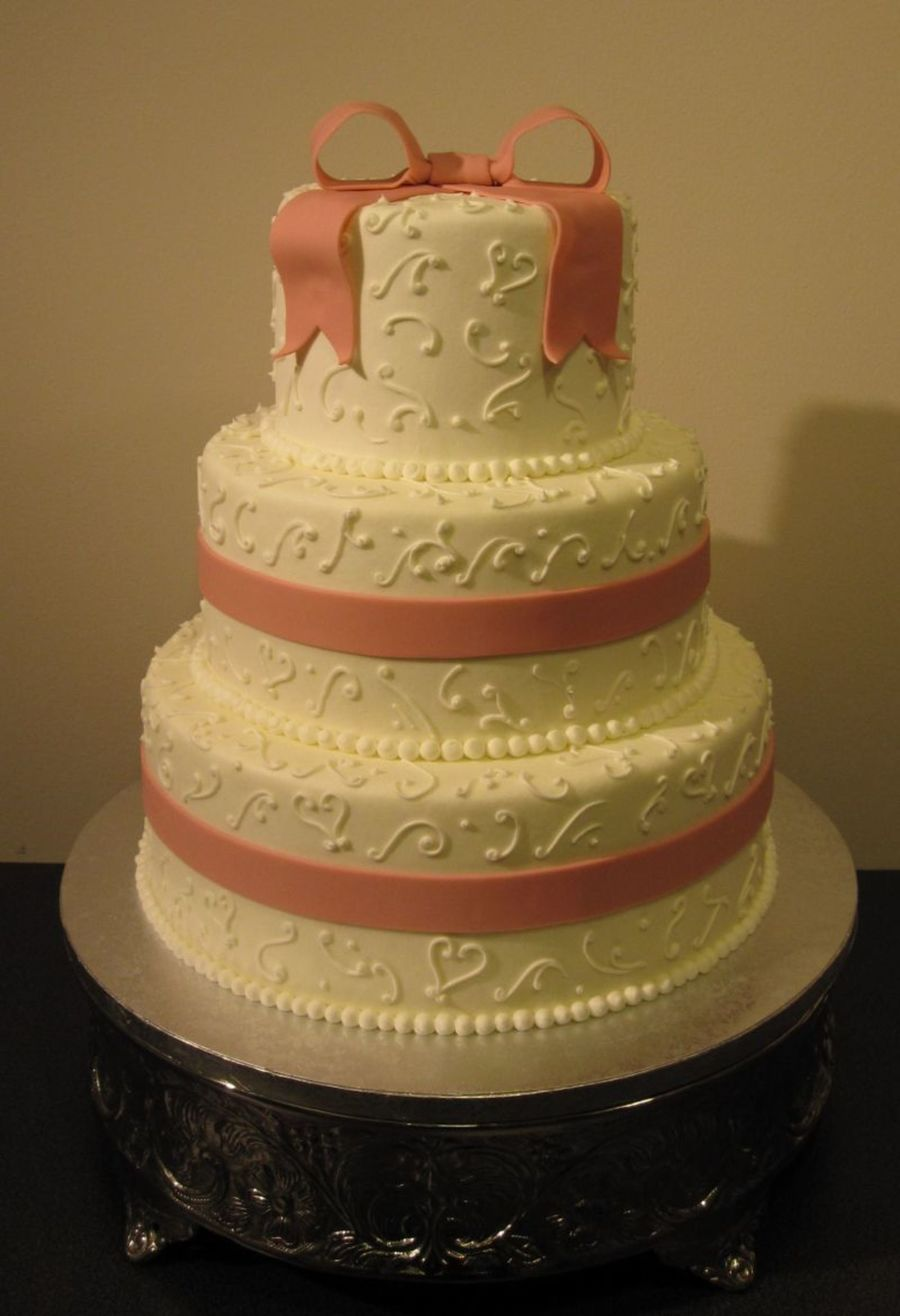Buttercream Cake With Fondant Bow on Cake Central