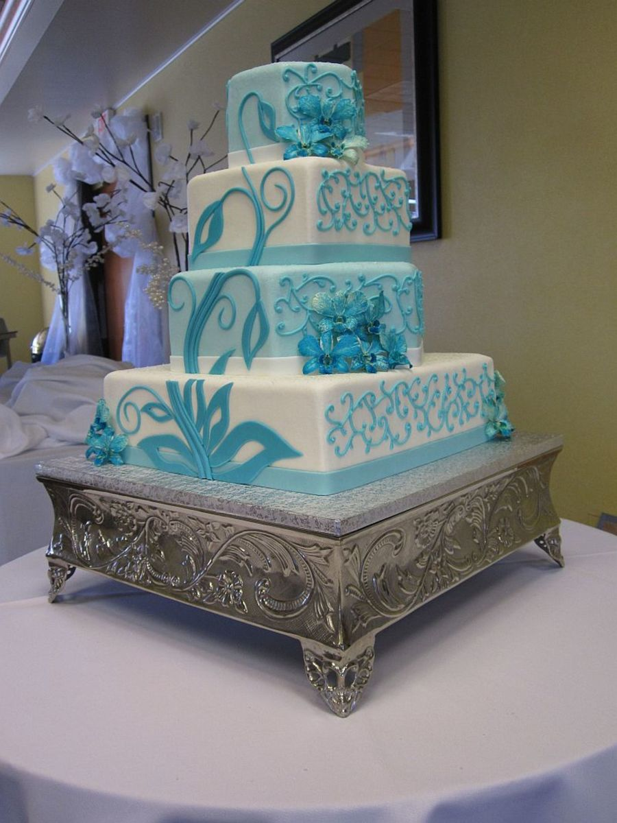 wedding cakes turquoise and purple buttercream teal cake cakecentral 25793