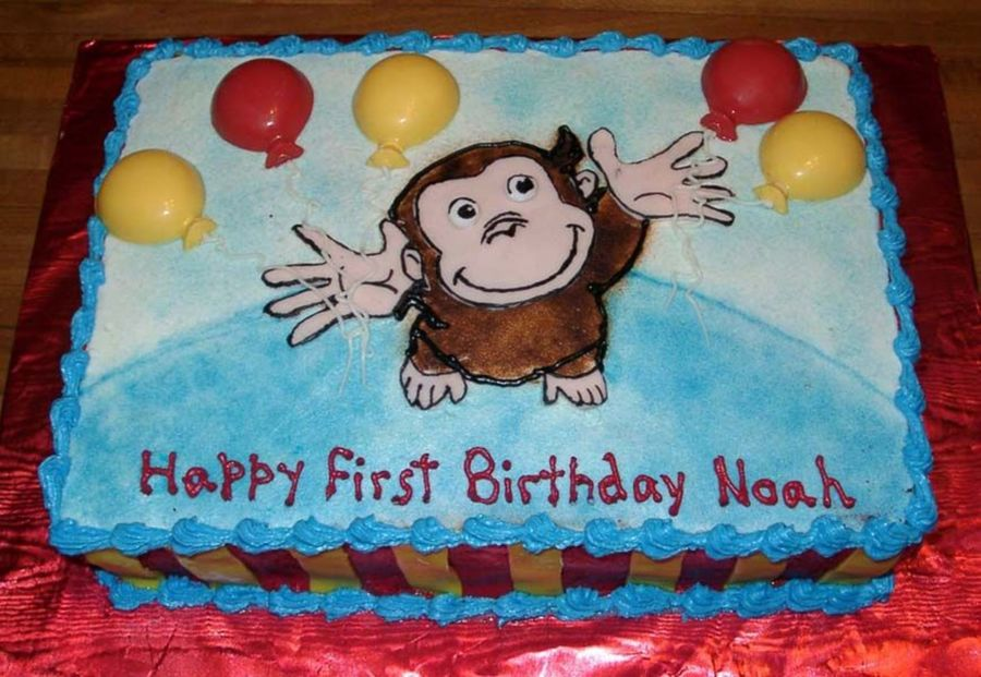 Curious George With Balloons  on Cake Central