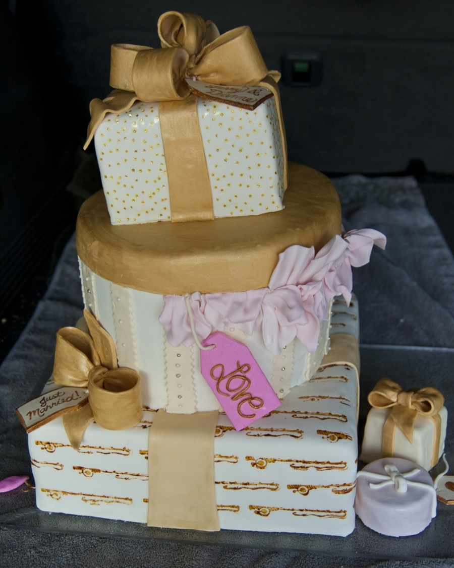 Stack Of Gifts Wedding Cake on Cake Central