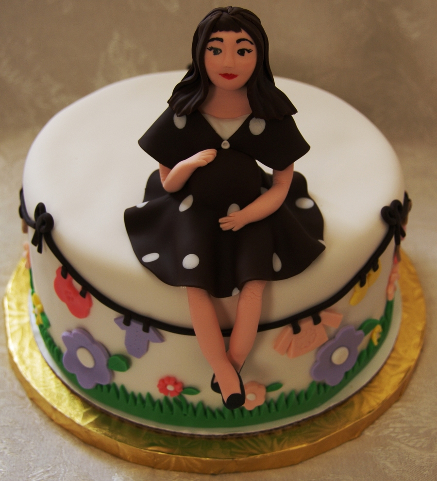 Sculpted Fondant Mommy To Be Shower Cake on Cake Central