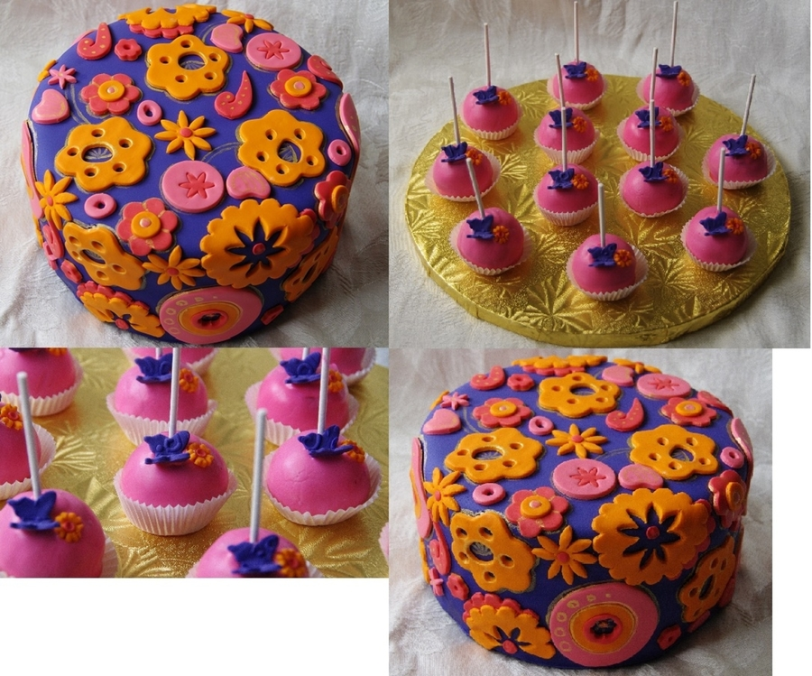 Colorful Cake With Matching Cake Pops on Cake Central