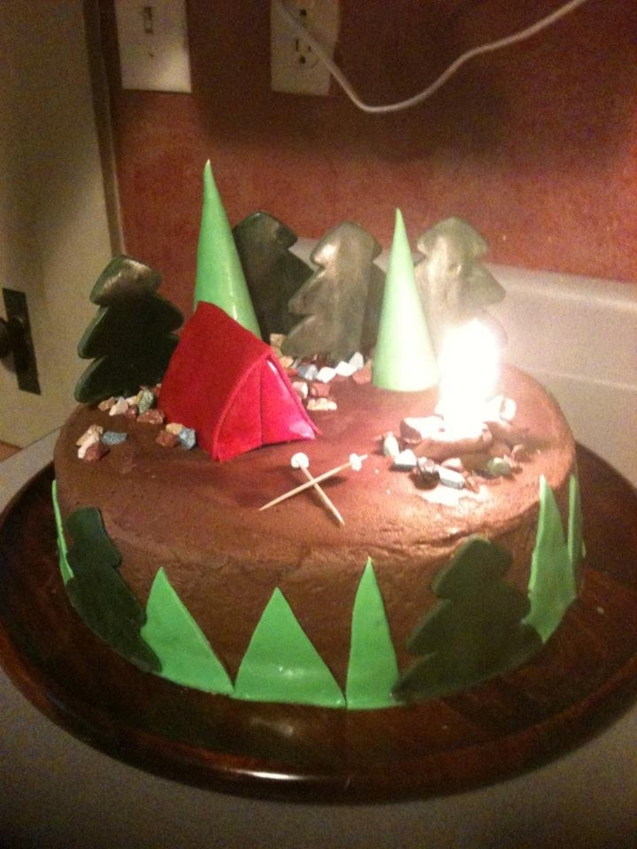 Camping Themed Birthday Cake CakeCentralcom