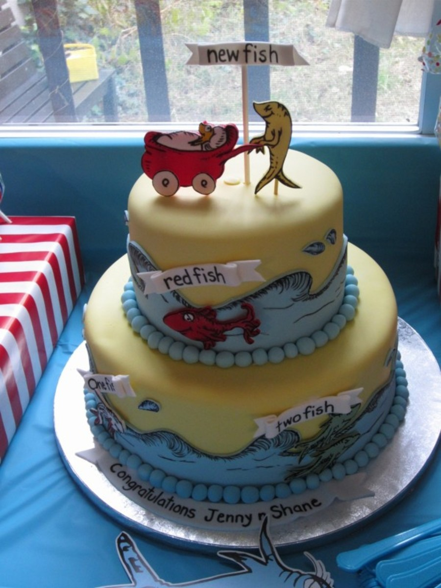 Dr Seuss Themed Baby Shower Cake