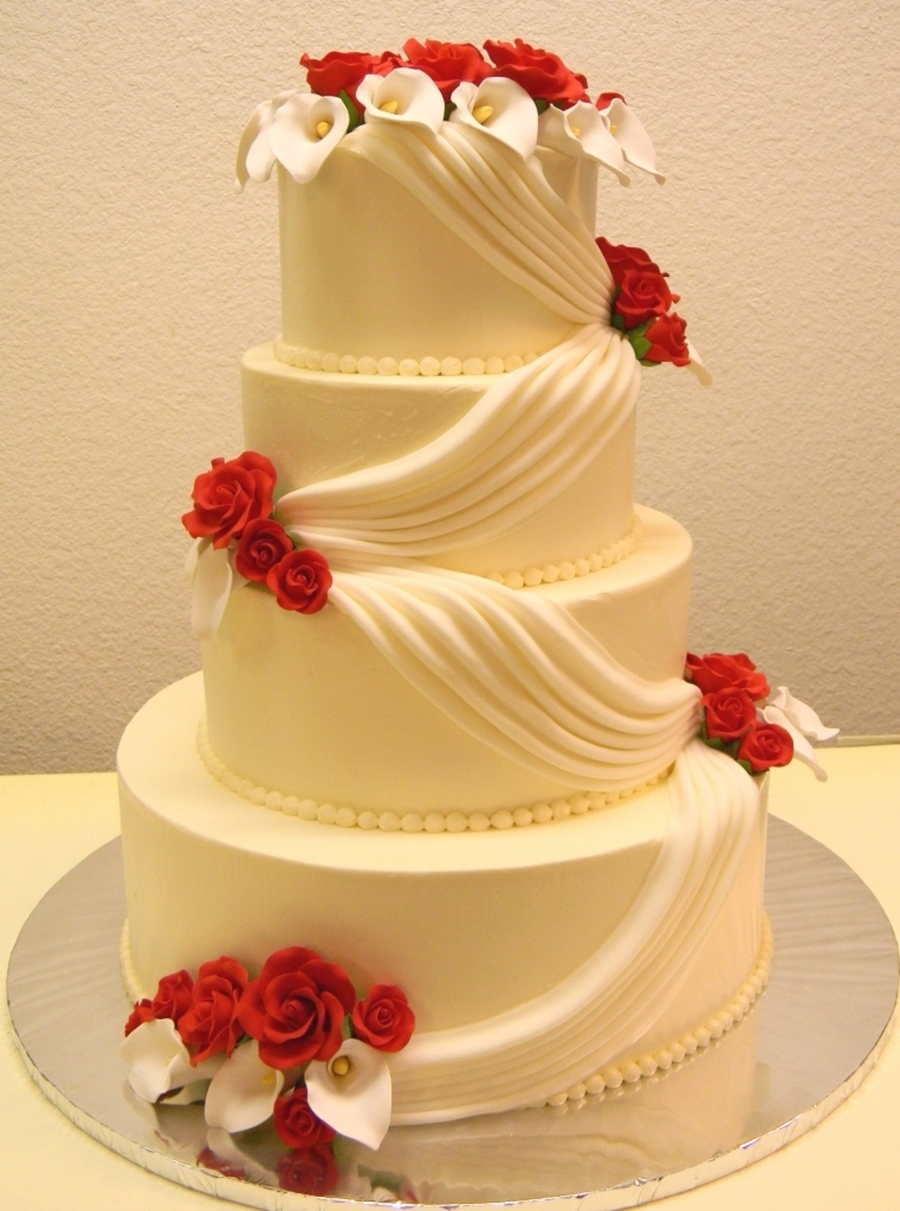 Lily & Red Roses Wedding Cake on Cake Central