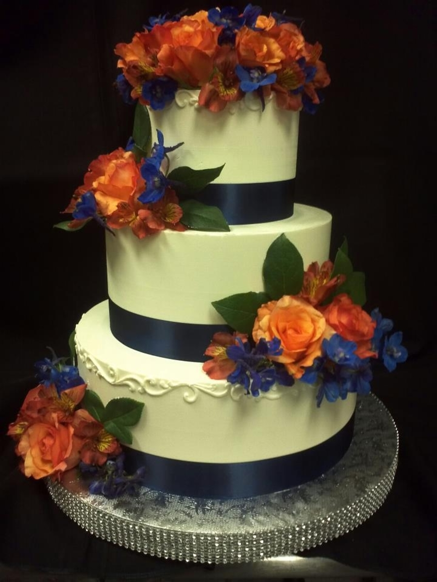 Orange Roses And Navy Ribbon on Cake Central