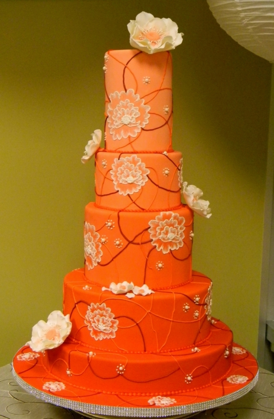 Tangerine Wedding Cake on Cake Central