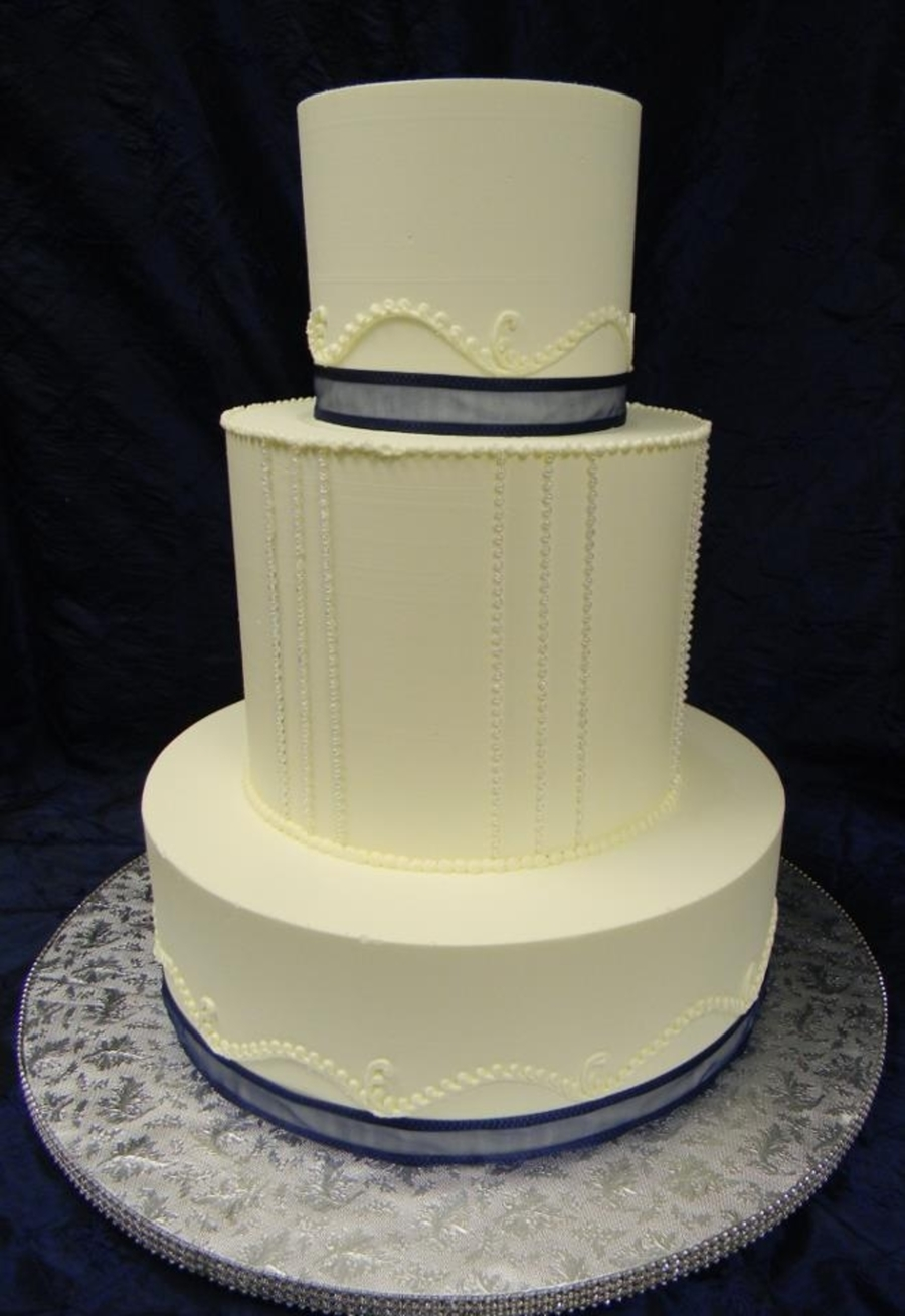 Navy Ribbon  on Cake Central