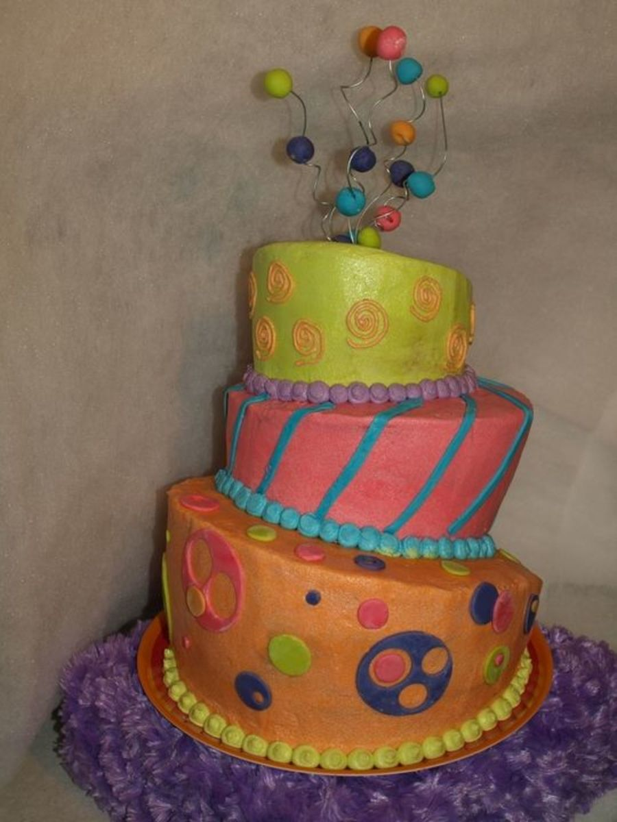 Colorful Topsy Turvy on Cake Central